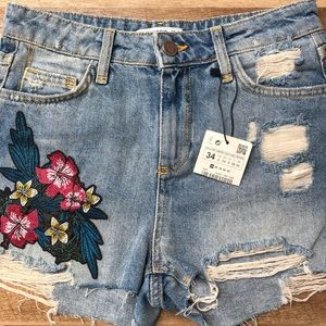 ZARA Distressed Patchwork Denim Shorts